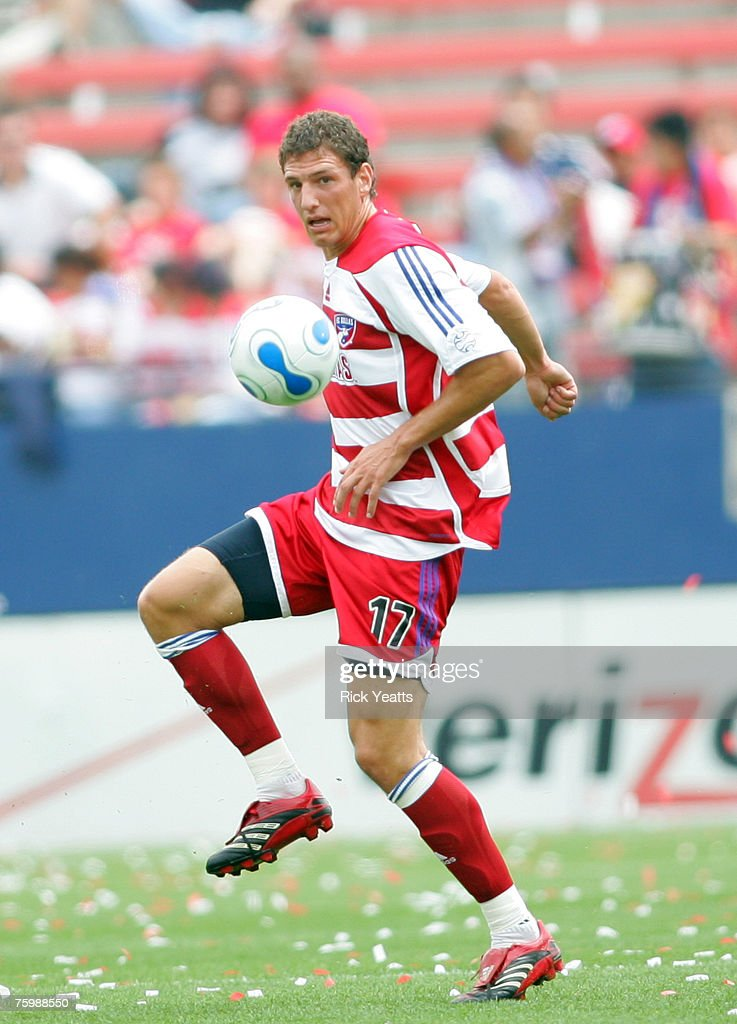 Clarence Goodson of FC Dallas takes control of the ball against the Colorado Rapids at Pizza Hut Park in Frisco Texas on April 22 2007