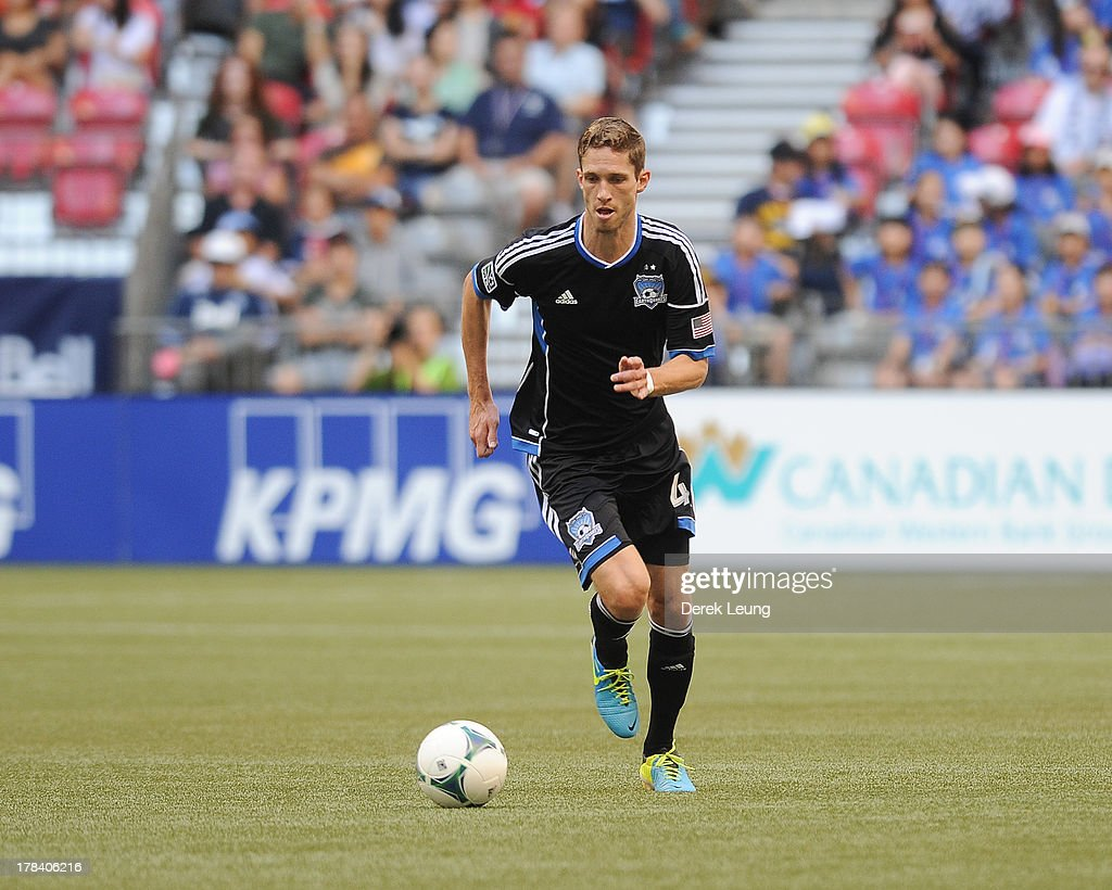 <a gi-track='captionPersonalityLinkClicked' href=/galleries/search?phrase=Clarence+Goodson&family=editorial&specificpeople=2334063 ng-click='$event.stopPropagation()'>Clarence Goodson</a> #44 of the San Jose Earthquakes in action during an MLS match against the Vancouver Whitecaps at B.C. Place on August 10, 2013 in Vancouver, British Columbia, Canada.