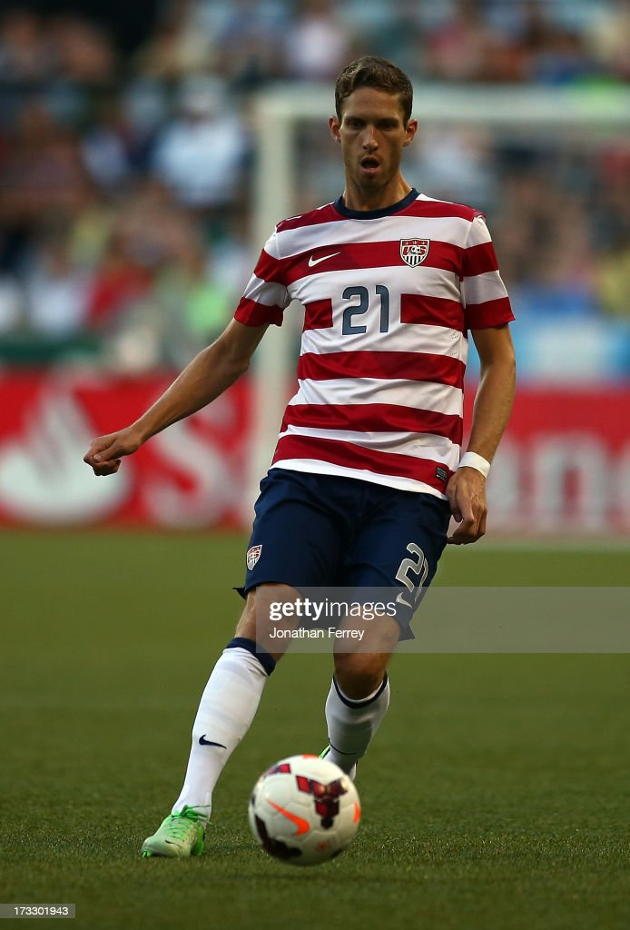 Clarence Goodson of the United States kicks the ball against Belize during the 2013 CONCACAF Gold Cup on July 9 2013 at JeldWen Field in Portland...
