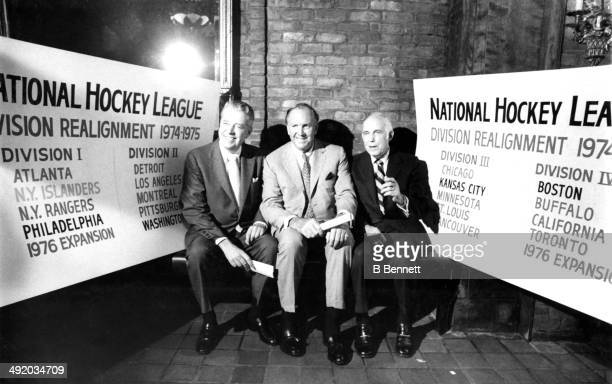 Clarence S Campbell and two unidentified people explain the NHL's division realignment before the 197475 season including the new expansion teams...