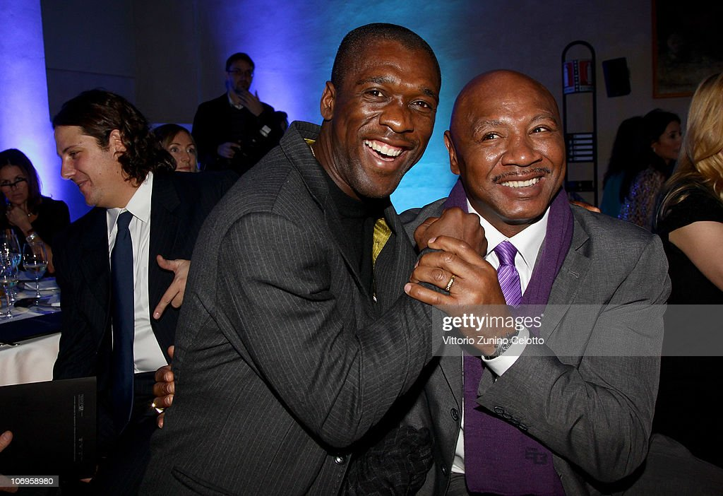 Clarence Seedorf (L) and Marvin Hagler attend the Laureus Sport For Good Foundation Banquet held at Pinacoteca di Brera on November 18, 2010 in Milan, Italy.