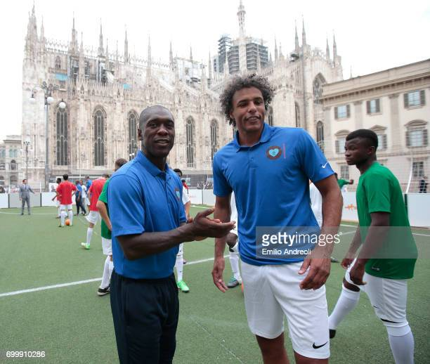 Clarence Seedorf and Pierre van Hooijdonk attend a football clinic for integration organized by Italian Football Federation on June 22 2017 in Milan...