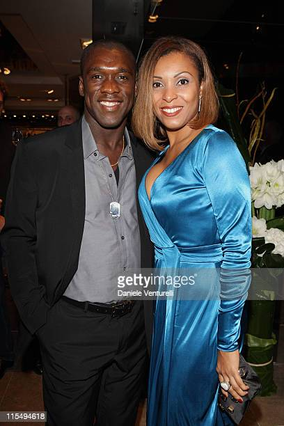 Clarence Seedorf and wife Luviana attend John Richmond Cocktail as part of the Paris Womenswear Fashion Week Spring/Summer 2010 at John Richmond...