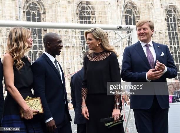 Clarence Seedorf Aron Queen Maxima and King WillemAlexander of The Netherlands attend a football clinic for integration organized by Italian Football...