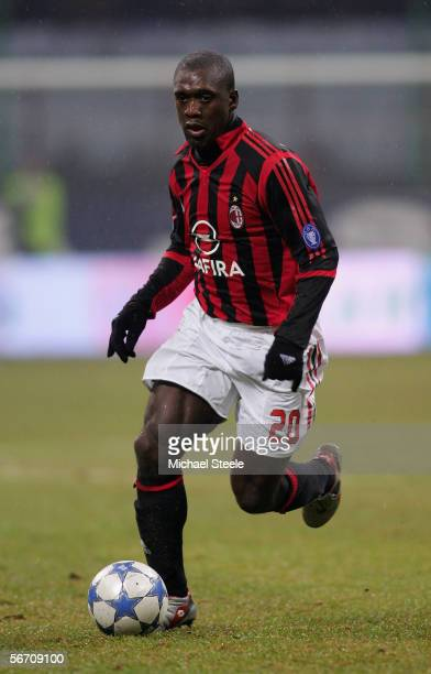 Clarence Seedorf during the Serie A match between AC Milan and Sampdoria at the Stadio San Siro on January 28 2006 in Milan Italy