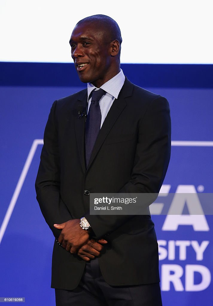 Clarence Seedorf, former Netherlands International looks on during the presentation of the first-ever FIFA Diversity Award on day 1 of the Soccerex Global Convention 2016 at Manchester Central Convention Complex on September 26, 2016 in Manchester, England.