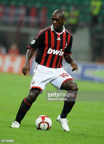 Clarence Seedorf head coach of AC Milan in action during the Serie A match between AC Milan and AS Bari at Stadio Giuseppe Meazza on September 27...