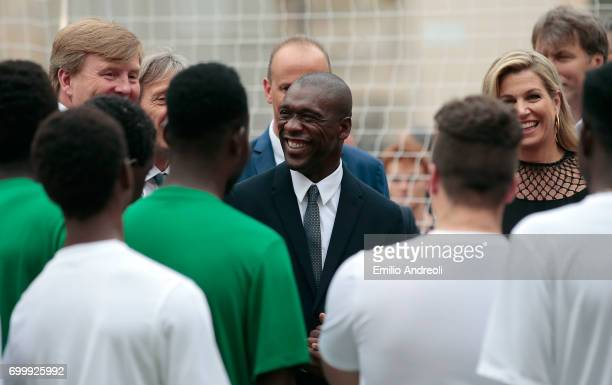 Clarence Seedorf King WillemAlexander of the Netherlands and Queen Maxima of the Netherlands attend a football clinic for integration organized by...