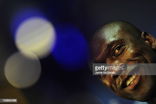 Clarence Seedorf of AC Milan attends a pre match press conference at White Hart Lane on March 8 2011 in London England
