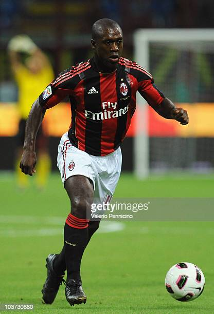 Clarence Seedorf of AC Milan in action during the Serie A match between AC Milan and US Lecce at Stadio Giuseppe Meazza on August 29 2010 in Milan...