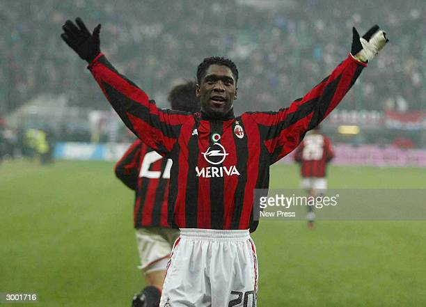 Clarence Seedorf of Milan celebrates a goal during the Campionato Italiano match between AC Milan and Inter Milan at the San Siro stadium on February...