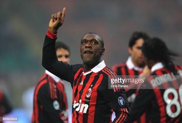 Clarence Seedorf of Milan celebrates after scoring the first goal during the Serie A match between Milan and Cagliari at Stadio Giuseppe Meazza on...