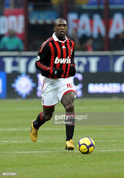 Clarence Seedorf of Milan in action during the Serie A match between AC Milan and Livorno at Stadio Giuseppe Meazza on January 31 2010 in Milan Italy