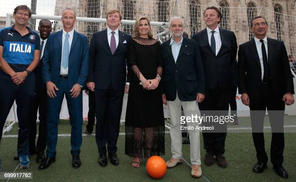 Clarence Seedorf Roberto Samaden of FIGC King WillemAlexander of the Netherlands Queen Maxima of the Netherlands and mayor of Milan Giuseppe Sala...