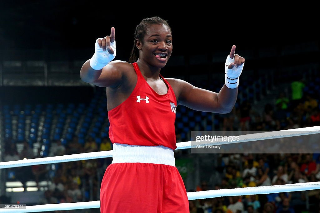 Claresa Maria Shields of the United States celebrates after defeating Iaroslava Iakushina of Russia by points during the Women's Middleweight...