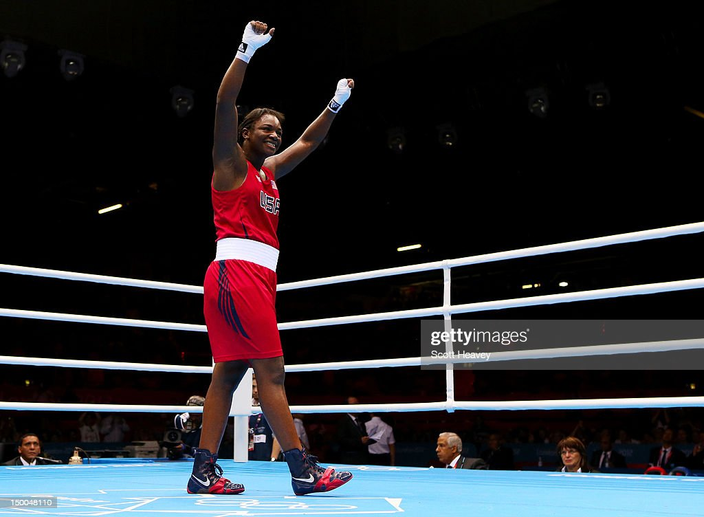 <a gi-track='captionPersonalityLinkClicked' href=/galleries/search?phrase=Claressa+Shields&family=editorial&specificpeople=8936937 ng-click='$event.stopPropagation()'>Claressa Shields</a> of the United States celebrates defeating Nadezda Torlopova of Russia during the Women's Middle (75kg) Boxing final bout on Day 13 of the London 2012 Olympic Games at ExCeL on August 9, 2012 in London, England.