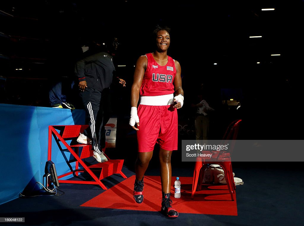 <a gi-track='captionPersonalityLinkClicked' href=/galleries/search?phrase=Claressa+Shields&family=editorial&specificpeople=8936937 ng-click='$event.stopPropagation()'>Claressa Shields</a> of the United States walks out of the ring after defeating Nadezda Torlopova of Russia during the Women's Middle (75kg) Boxing final bout on Day 13 of the London 2012 Olympic Games at ExCeL on August 9, 2012 in London, England.