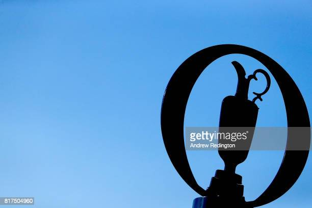 A claret jug sign is seen during a practice round prior to the 146th Open Championship at Royal Birkdale on July 18 2017 in Southport England