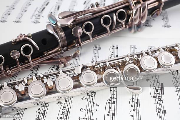 クラリネットとフルートに音楽