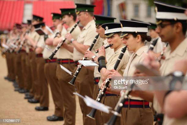 Clarinet players in the massed Bands of the Army's Household Division make their final preparations for London's Military Music Spectacular in Horse...