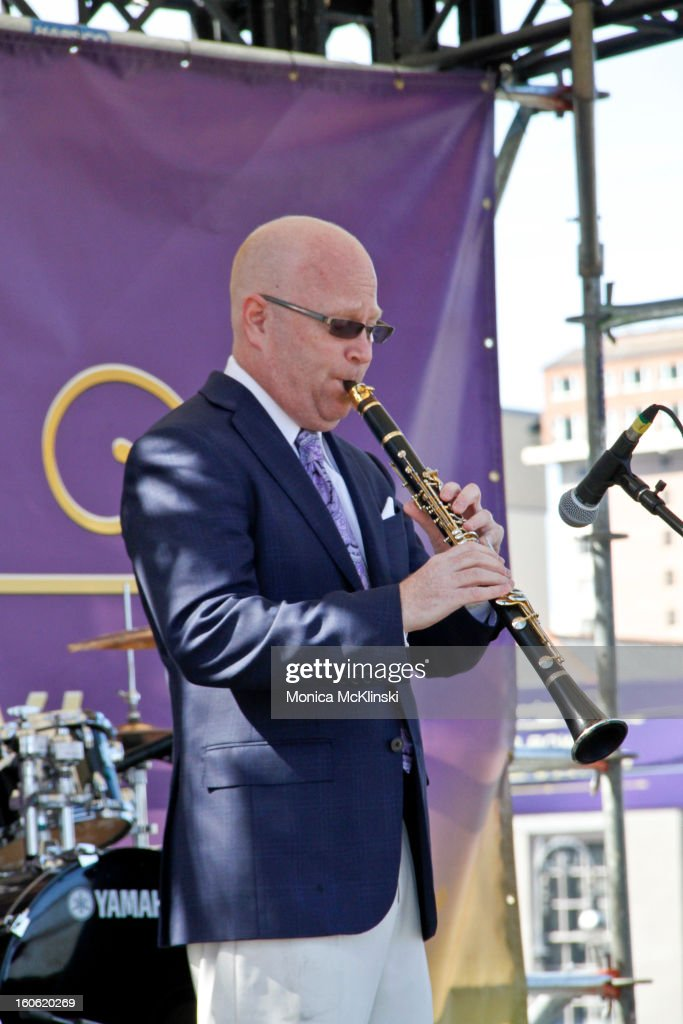 Clarinetist Tim Laughlin performs during the Verizon Super Bowl Boulevard at Woldenberg Park on February 3, 2013 in New Orleans, Louisiana.