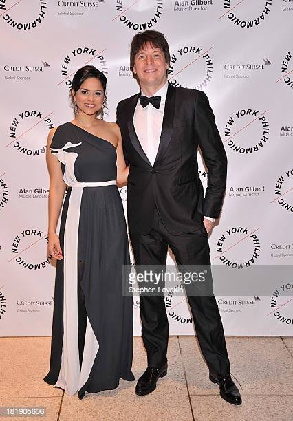 Clarisa Martinez and musician Joshua Bell attend The New York Philharmonic 172nd Season Opening Night Gala at Avery Fisher Hall Lincoln Center on...