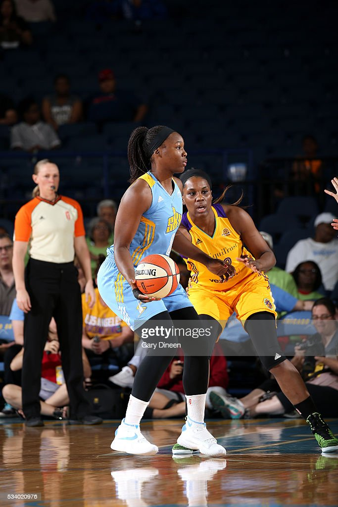 Clarissa Dos Santos #8 of the Chicago Sky handles the ball during the game against the Los Angeles Sparks on May 24, 2016 at the Allstate Arena in Chicago, Illinois.