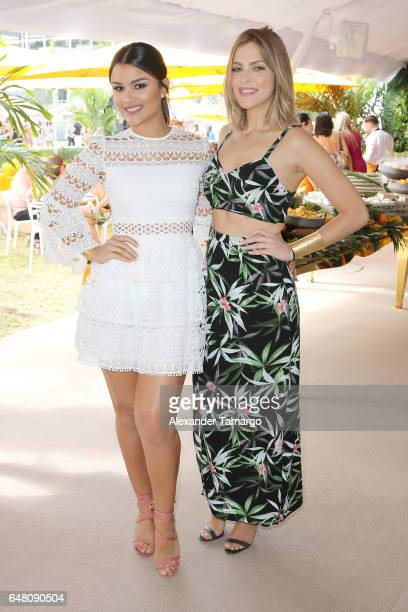 Clarissa Molina and Daniela di Giacomo are seen at the Veuve Clicquot Third Annual Clicquot Carnaval Supporting The Perez Art Museum Miami at Museum...