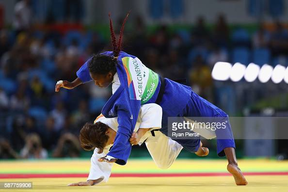 Clarisse Agbegnenou of France and Tina Trstenjak of Slovenia compete in the Women's 63kg gold medal bout on Day 4 of the Rio 2016 Olympic Games at...