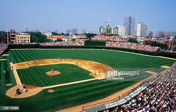 WRIGLEY FIELD. HOME OF THE CHICAGO CUBS. AKA 'FRIENDLY CONFINES'. BUILT IN 1914 ON CHICAGOS NORTH SIDE. IL. Clark and Addison Streets.