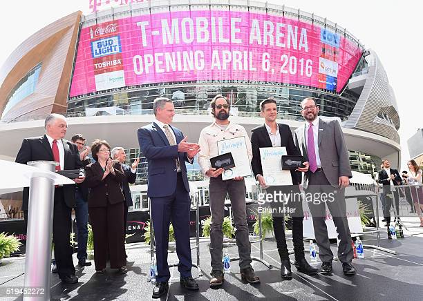 Clark County Commission Chairman Steve Sisolak Clark County Commissioner Mary Beth Scow MGM Resorts International Chairman and CEO Jim Murren and AEG...