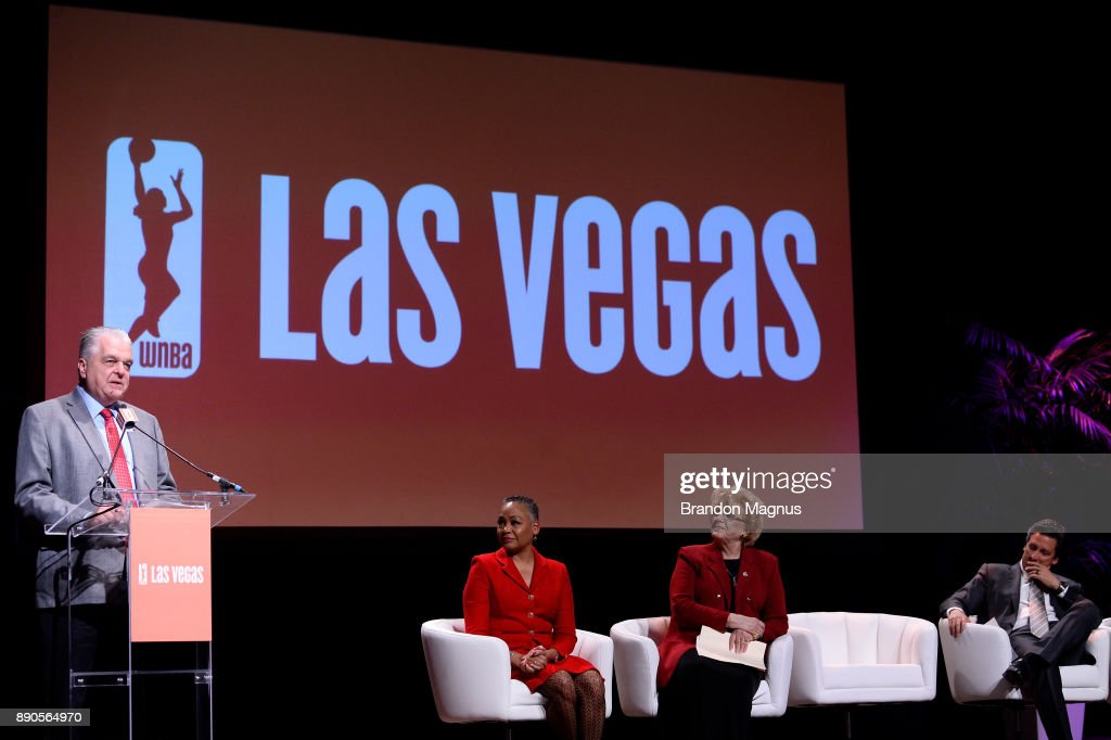 Clark County Commission Chairman Steve Sisolak speaks during a news conference as the WNBA and MGM Resorts International announce the Las Vegas Aces as the name of their franchise at the House of Blues Las Vegas inside Mandalay Bay Resort and Casino on December 11, 2017 in Las Vegas, Nevada. In October, the league announced that the San Antonio Stars would relocate to Las Vegas and begin play in the 2018 season at the Mandalay Bay Events Center.