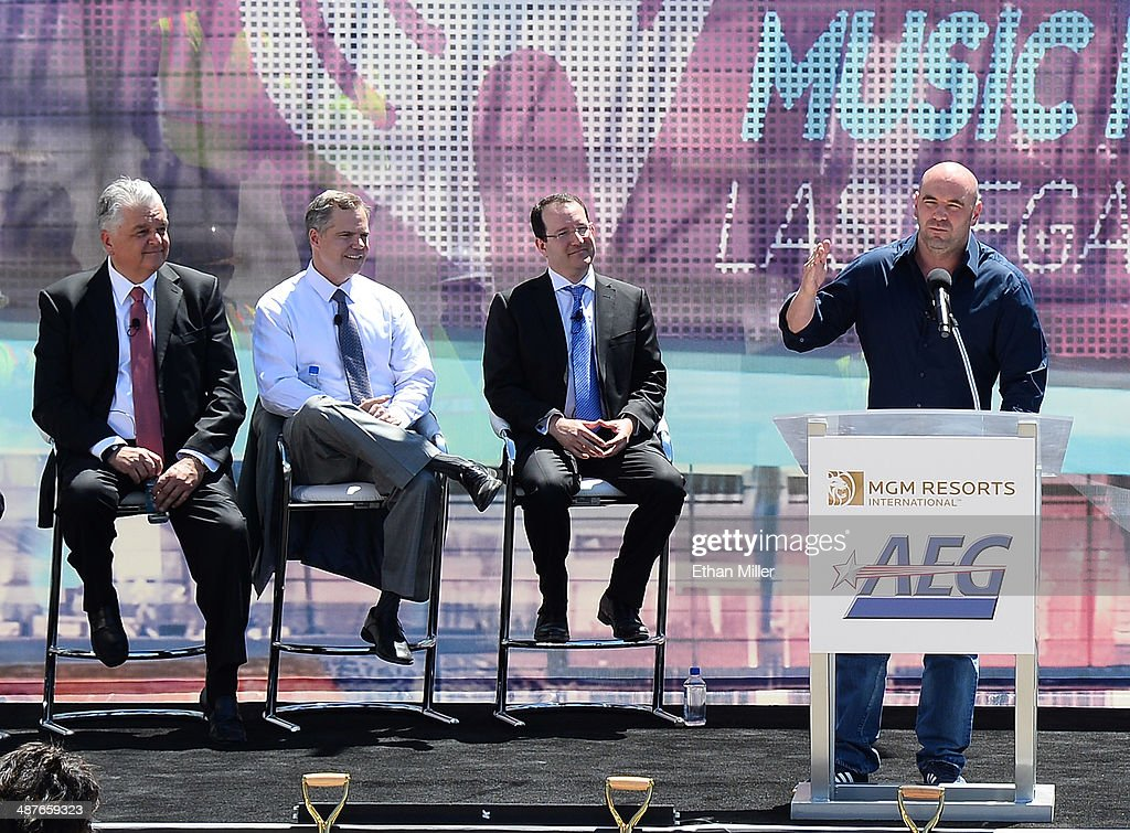 Clark County Commissioner Steve Sisolak, MGM Resorts International Chairman and CEO Jim Murren, President and CEO of AEG Dan Beckerman and UFC President Dana White attend a groundbreaking for a USD 375 million, 20,000-seat sports and entertainment arena being built by MGM Resorts International and AEG on May 1, 2014 in Las Vegas, Nevada. The arena is scheduled to open in early 2016.