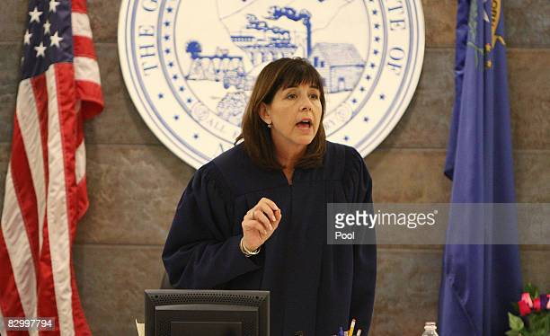 Clark County District Court Judge Jackie Glass talks to defense attorneys in the OJ Simpson trial at the Clark County Regional Justice Center...