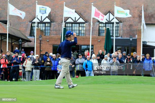 Clark Dennis of United States in action during the final round of the Farmfoods European Masters played at Forest of Arden Marriott Hotel Country...