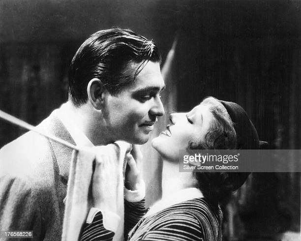Clark Gable and Claudette Colbert in a publicity still for 'It Happened One Night' directed by Frank Capra 1934