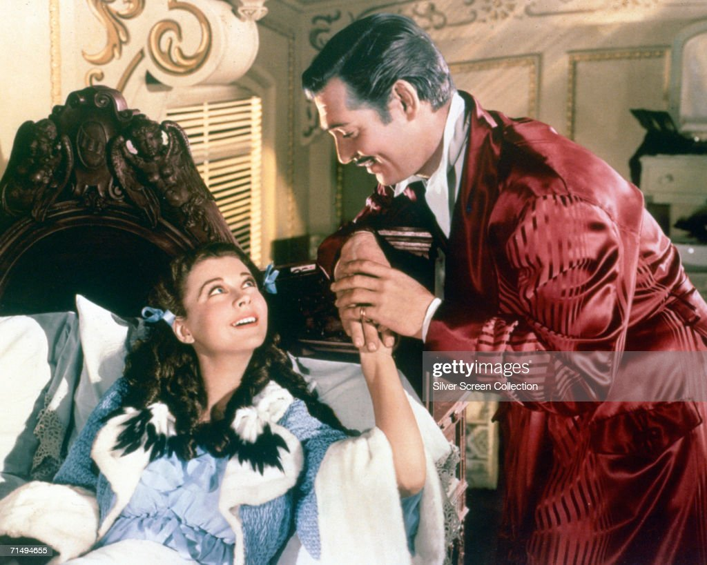 Clark Gable as Rhett Butler and Vivien Leigh as Scarlett O'Hara in the romantic epic 'Gone With The Wind' directed by Victor Fleming 1939