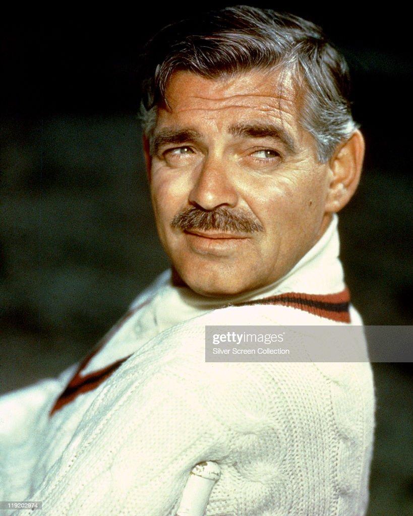 Clark Gable (1901–1960), US actor, looking over his shoulder, circa 1960.