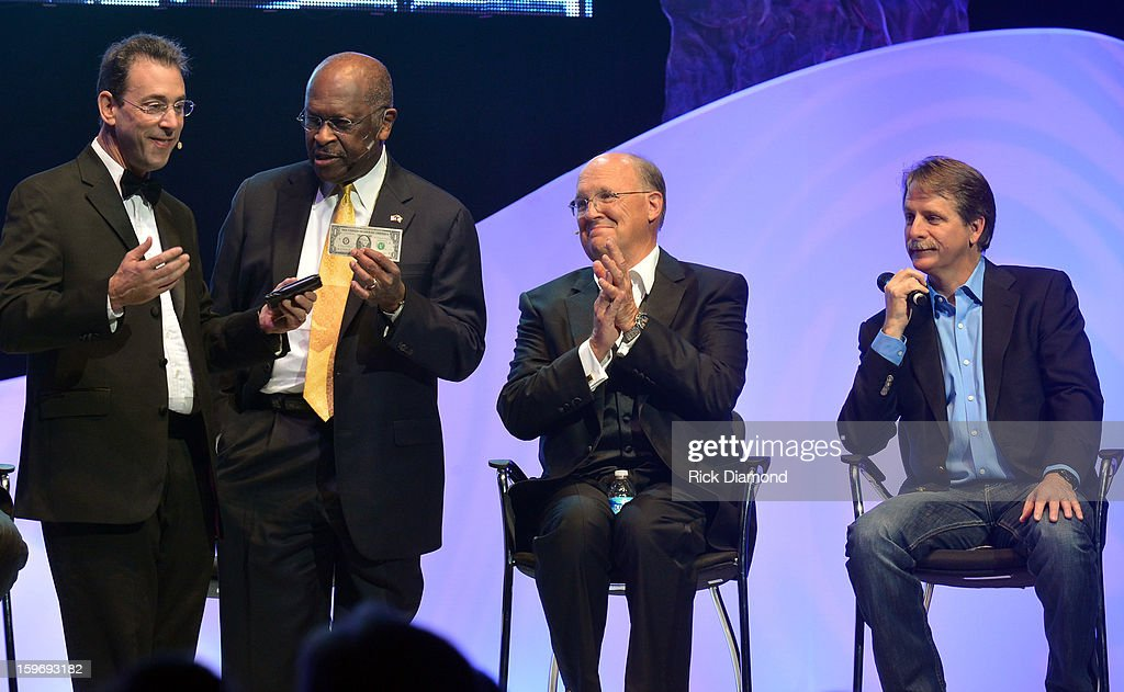Clark Howard WSB/CNN, Former presidential candidate <a gi-track='captionPersonalityLinkClicked' href=/galleries/search?phrase=Herman+Cain&family=editorial&specificpeople=6987634 ng-click='$event.stopPropagation()'>Herman Cain</a>, Honoree Neal Boortz and Comedian <a gi-track='captionPersonalityLinkClicked' href=/galleries/search?phrase=Jeff+Foxworthy&family=editorial&specificpeople=213589 ng-click='$event.stopPropagation()'>Jeff Foxworthy</a> backstage for The Boortz Happy Ending at The Fox Theater on January 12, 2013 in Atlanta, Georgia.