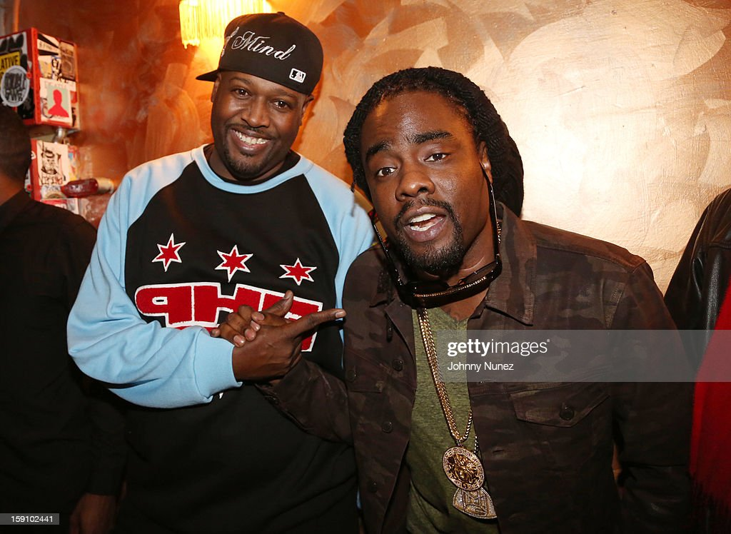 DJ Clark Kent and <a gi-track='captionPersonalityLinkClicked' href=/galleries/search?phrase=Wale+-+Rapper&family=editorial&specificpeople=8770277 ng-click='$event.stopPropagation()'>Wale</a> attend backstage at the Bowery Ballroom on January 7, 2013 in New York City.