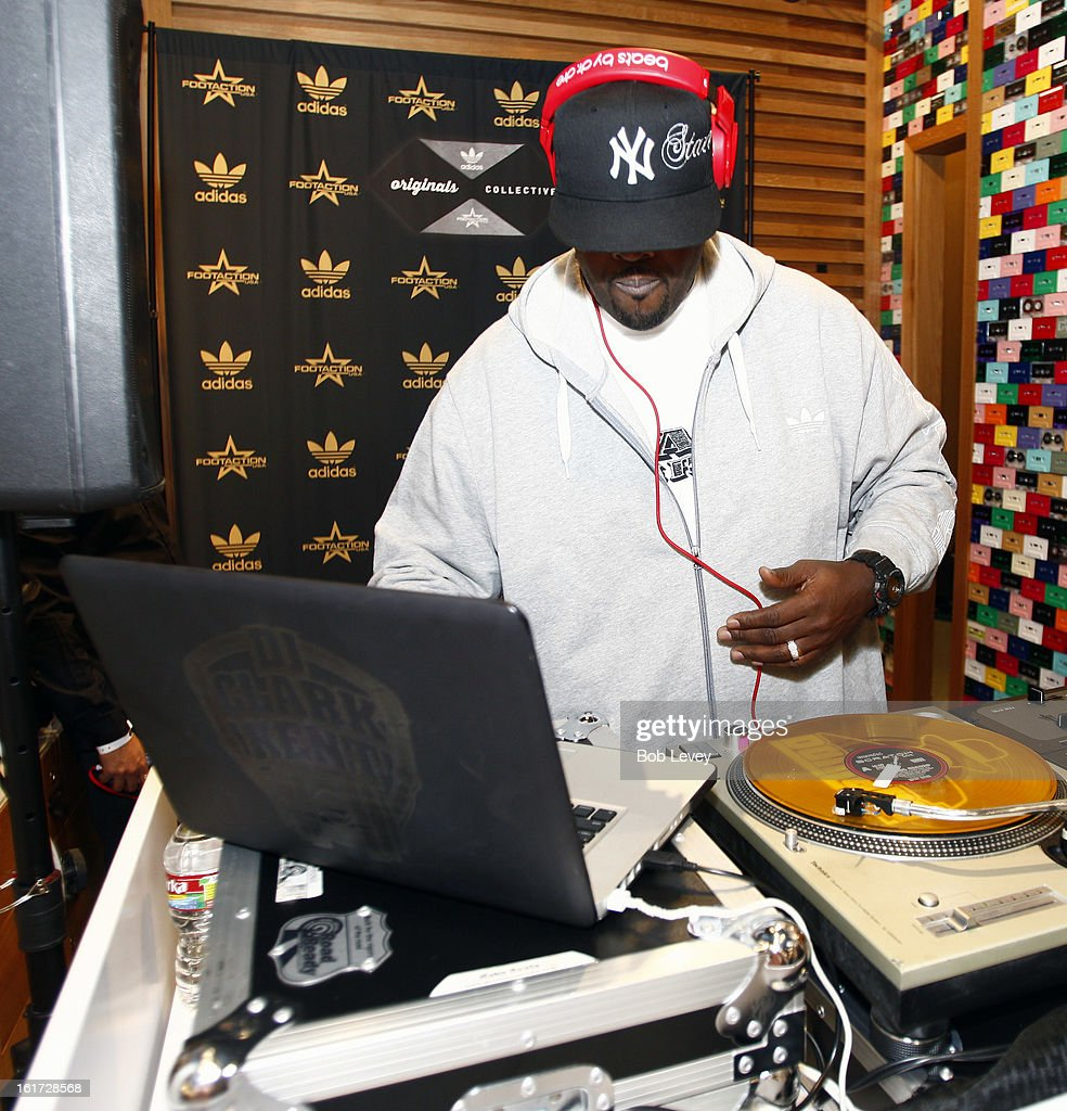 DJ Clark Kent spins the tunes at the adidas Originals Collective At Footaction - VIP Event at Willowbrook Mall on February 14, 2013 in Houston, Texas.