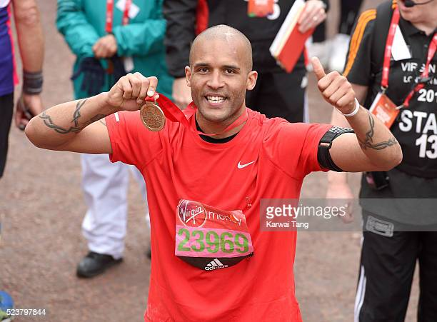 Clarke Carlisle finishes the Virgin London Marathon 2016 on April 24 2016 in London England