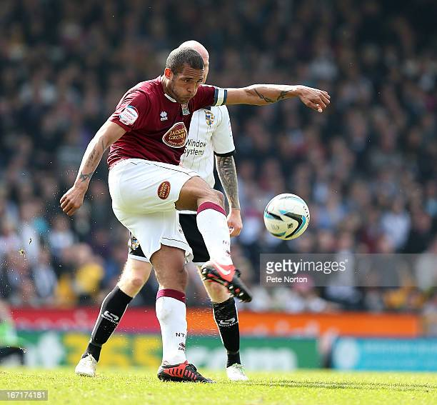 Clarke Carlisle of Northampton Town in action during the npower League Two match between Port Vale and Northampton Town at Vale Park on April 20 2013...
