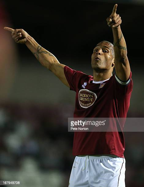 Clarke Carlisle of Northampton Town in action during the npower League Two Play Off Semi Final 1st leg match between Northampton Town and Cheltenham...