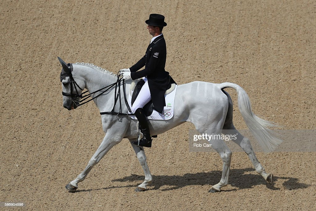 Clarke Johnstone of New Zealand riding Balmoral Sensation competes in the Eventing Team Dressage event during equestrian on Day 2 of the Rio 2016...