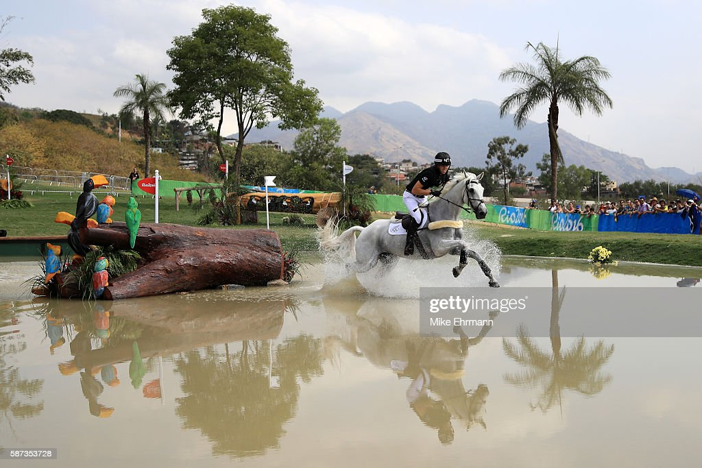 Clarke Johnstone of New Zealand riding Balmoral Sensation competes during the Cross Country Eventing on Day 3 of the Rio 2016 Olympic Games at the...