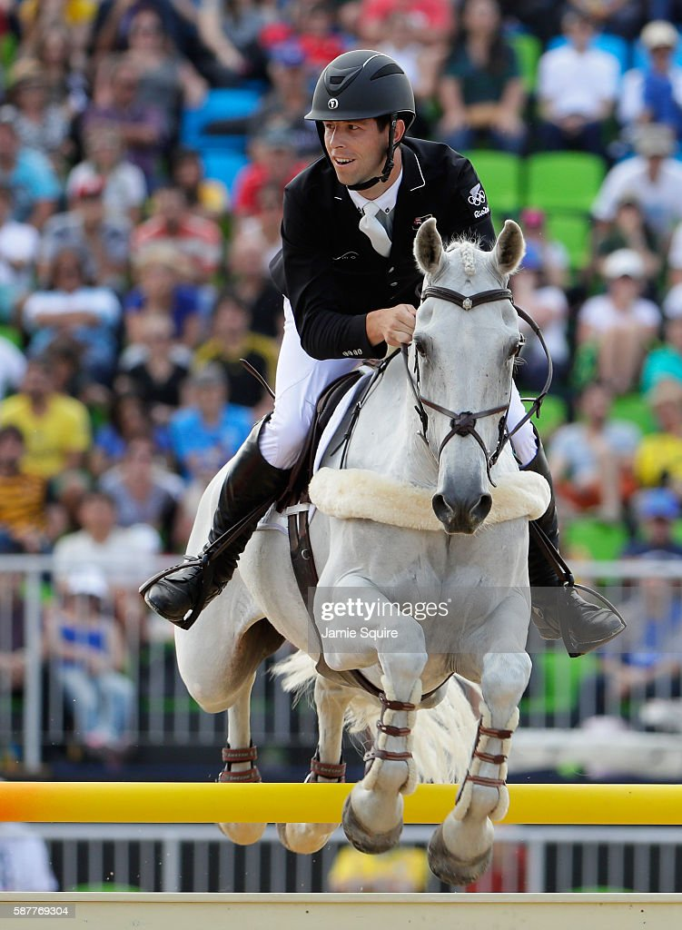 Clarke Johnstone of New Zealand riding Balmoral Sensation during the eventing team jumping final and individual qualifier on Day 4 of the Rio 2016...