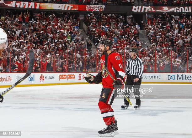 Clarke MacArthur of the Ottawa Senators celebrates a first period goal against the Pittsburgh Penguins in Game Three of the Eastern Conference Final...