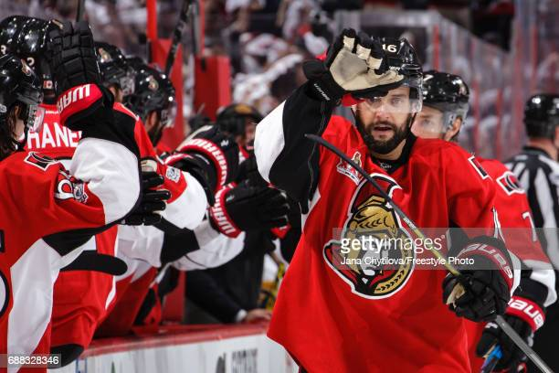 Clarke MacArthur of the Ottawa Senators celebrates a third period goal by teammate Mike Hoffman against the Pittsburgh Penguins in Game Six of the...