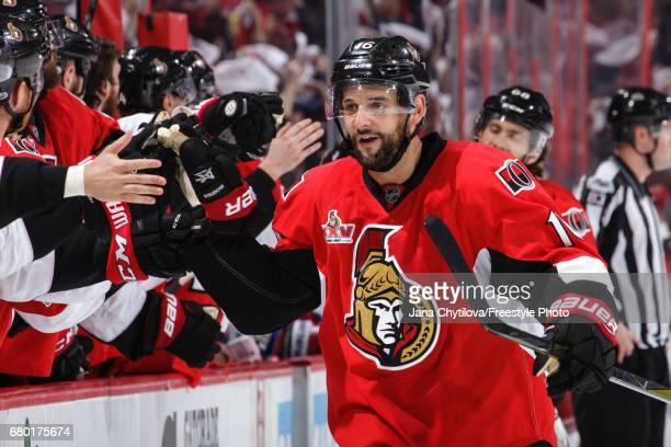 Clarke MacArthur of the Ottawa Senators celebrates a third period game tying goal scored by teammate Derick Brassard against the New York Rangers in...